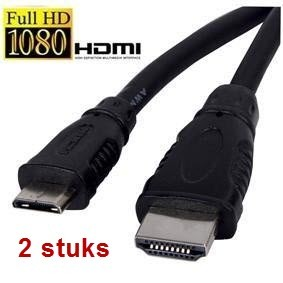HDMI 1.4 - mini HDMI (type C) kabel high speed 1M aanbieding 2 stuks!