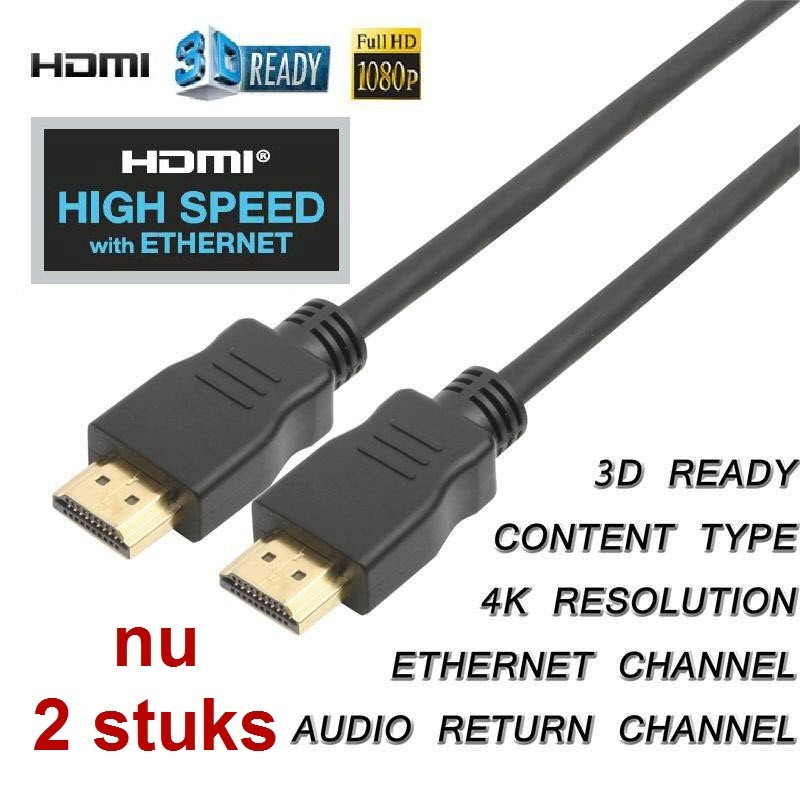 HDMI 1.4 kabel met ethernet high speed 3M ; nu 2 stuks