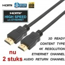 HDMI 1.4 kabel met ethernet high speed 1,5M , nu 2 stuks